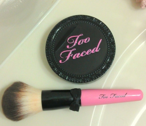 Too Faced Amazing Face Powder Foundation and Too Faced Powder Poof brush