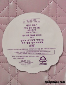 Back of Etude House Precious Mineral BB Cream Bright Fit sample